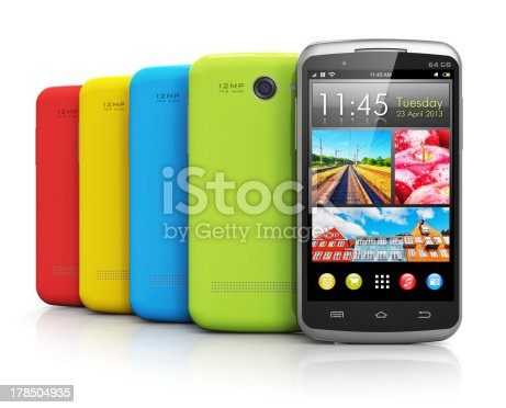 istock Modern color smartphones 178504935