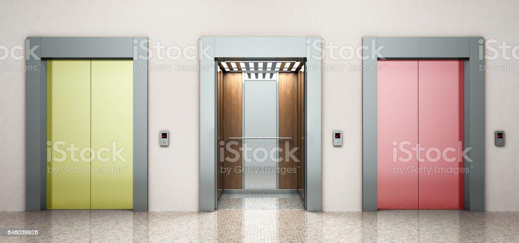 moderne Farbe Stahl Elevatore richtig Konzept 3d Rendering Abbildung – Foto