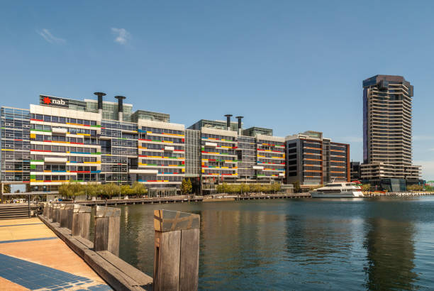 Modern colorful architecture  and high rise building at Docklands in Melbourne, Australia. stock photo