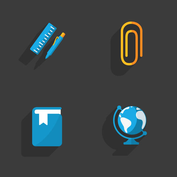 Modern colorful flat social icons set on Dark Background stock photo