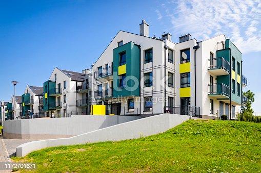 889473004 istock photo Modern colorful housing estate with underground garage 1172701671