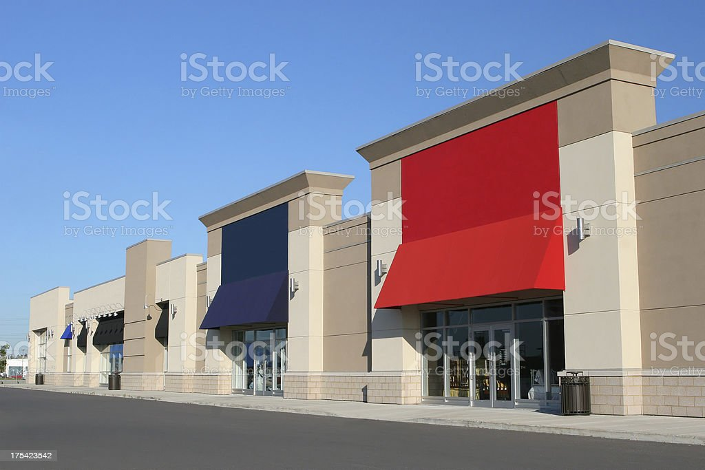 Modern Colorful Strip Mall Exteriors royalty-free stock photo
