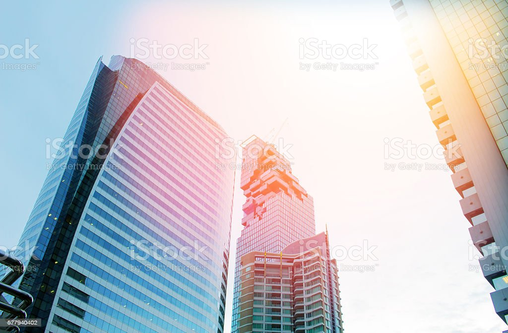 Modern commercial building close up with blue tone tuned stock photo