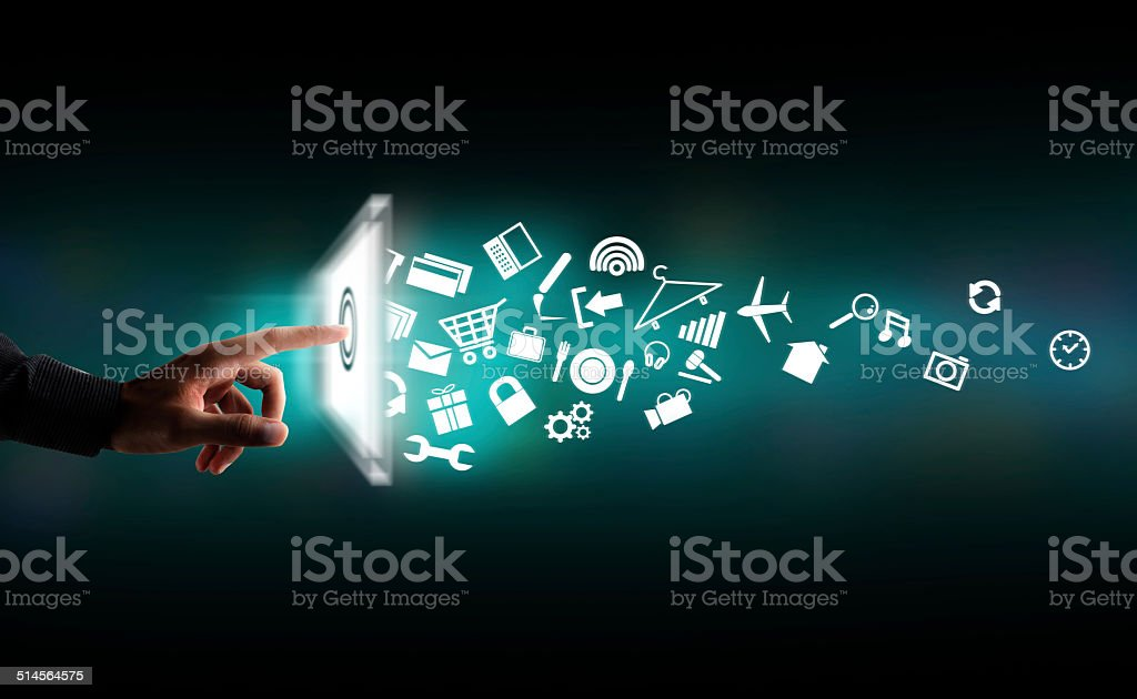 Modern communication technology concept stock photo