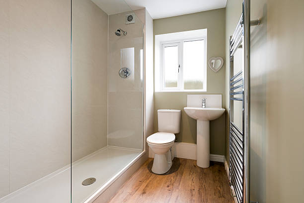 modern compact bathroom - bathroom renovation stock photos and pictures