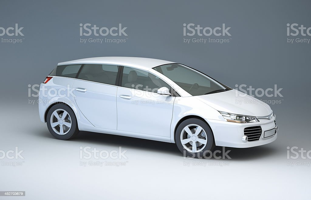 Modern compact car in a studio stock photo