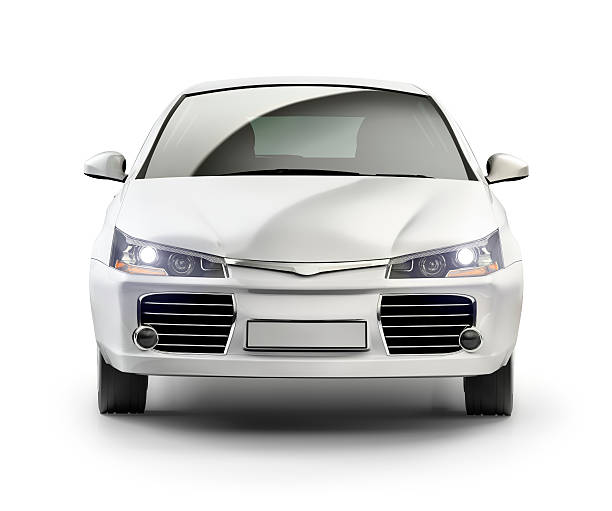 modern compact car in studio. - front view stock pictures, royalty-free photos & images