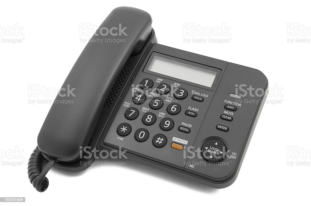 Modern compact office phone. Isolated on white royalty-free stock photo
