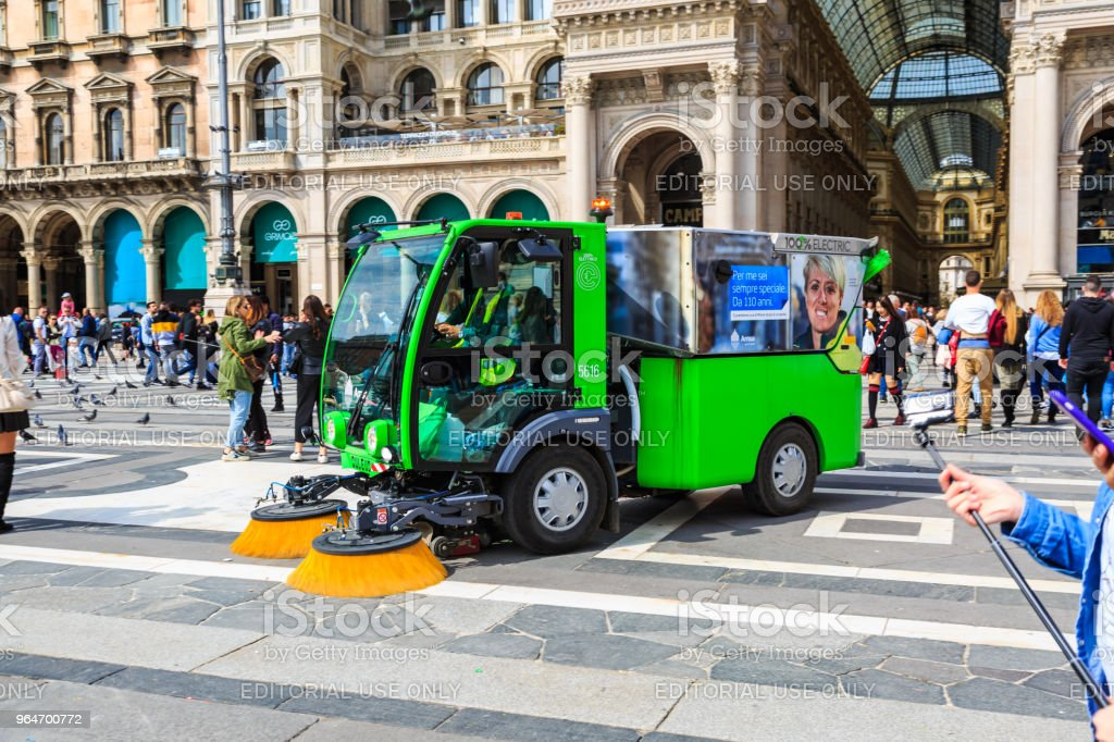 Modern compact street air sweeper royalty-free stock photo