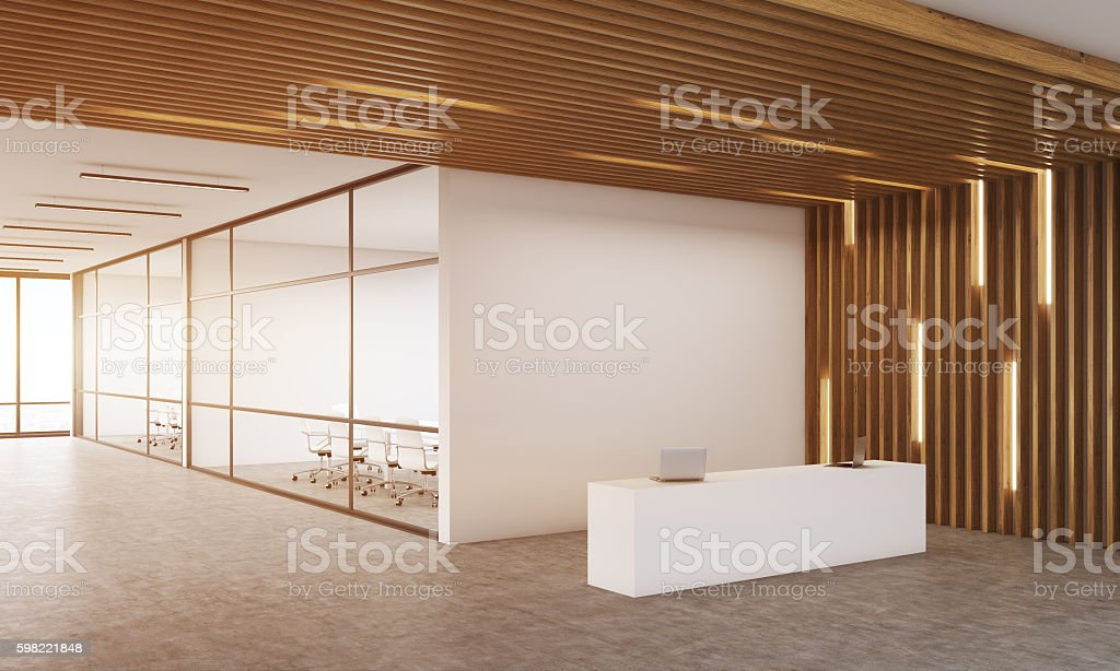 Modern company interior with reception table foto royalty-free