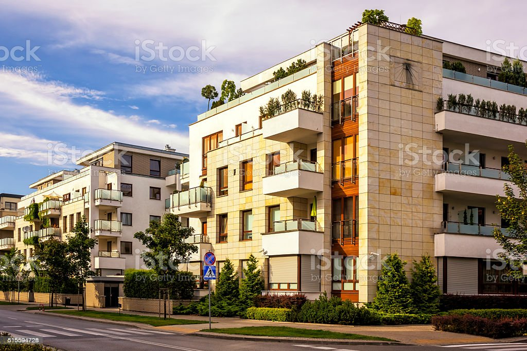 modern apartment buildings. Modern complex of apartment buildings  Warsaw Poland royalty free stock photo Complex Of Apartment Buildings