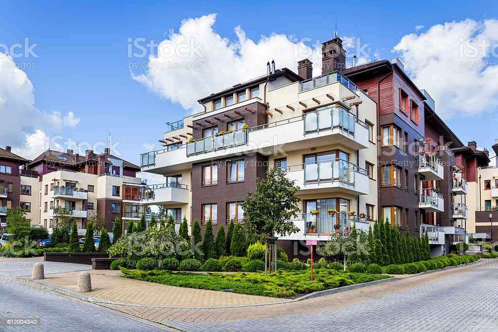 Modern complex of apartment buildings, Warsaw, Poland stock photo