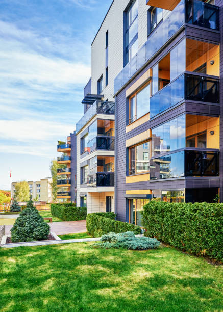 Modern complex of apartment residential stock photo