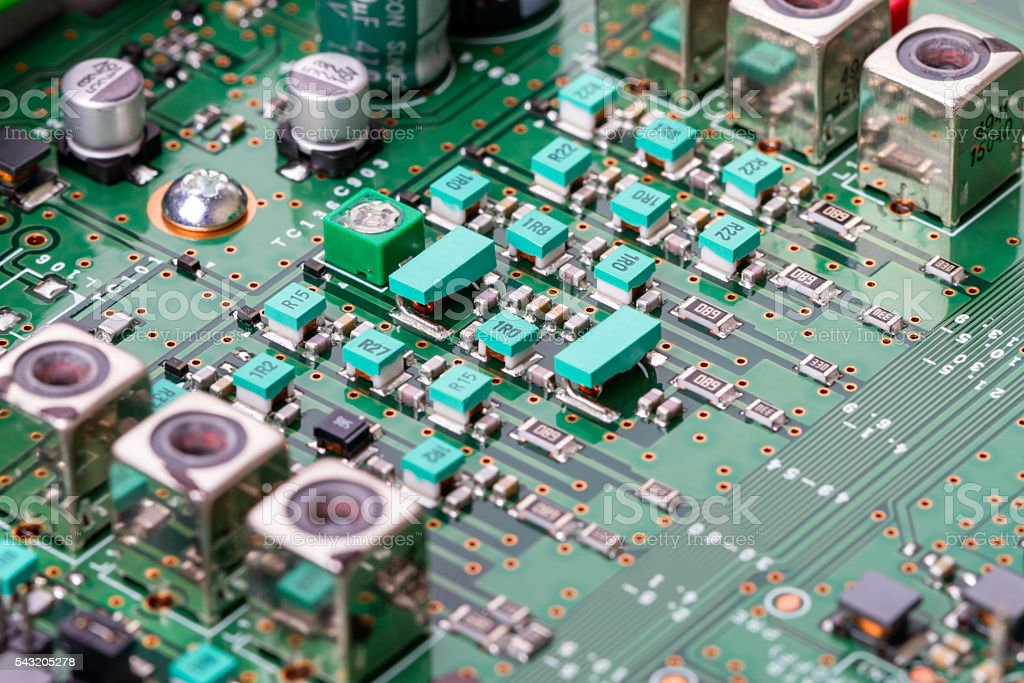 Modern components on the electronic board stock photo