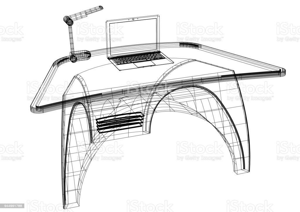 Blueprint 3d de ordenador moderno escritorio aislado fotografa de blueprint 3d de ordenador moderno escritorio aislado foto de stock libre de derechos malvernweather Choice Image