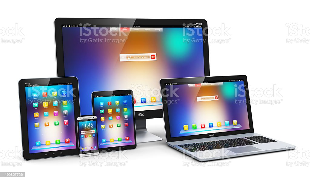 Modern computer devices stock photo