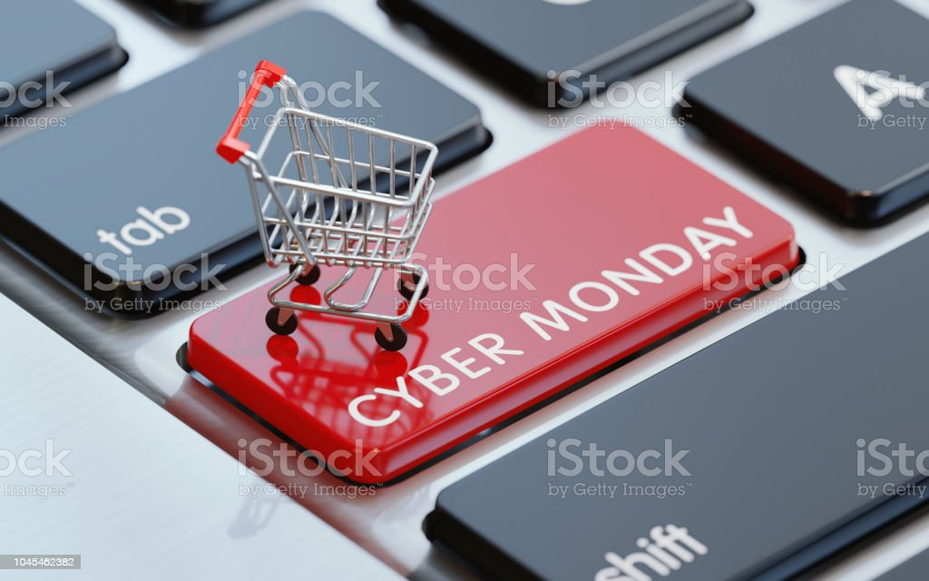 Modern Computer Keyboard With A Shopping Cart On A Cyber Monday Button - Стоковые фото Без людей роялти-фри
