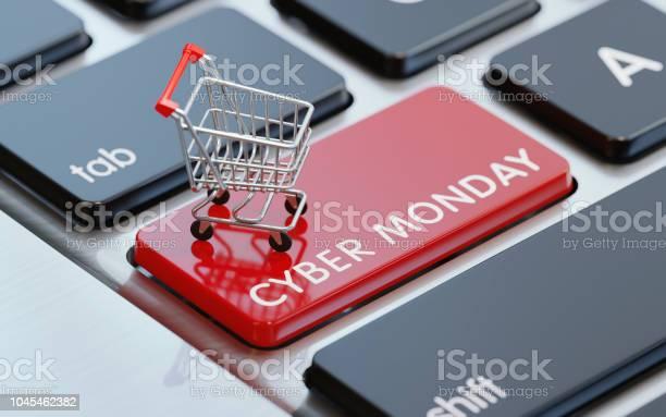 Modern Computer Keyboard With A Shopping Cart On A Cyber Monday Button — стоковые фотографии и другие картинки Без людей
