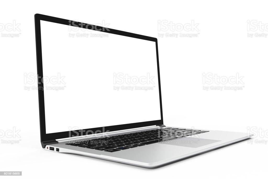 Modern computer, laptop blank mockup. Glossy laptop computer mock-up, 3D Rendering stock photo
