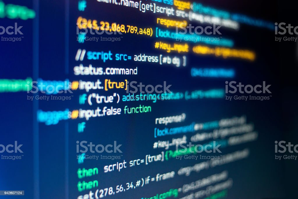 Modern Computer programming Code stock photo