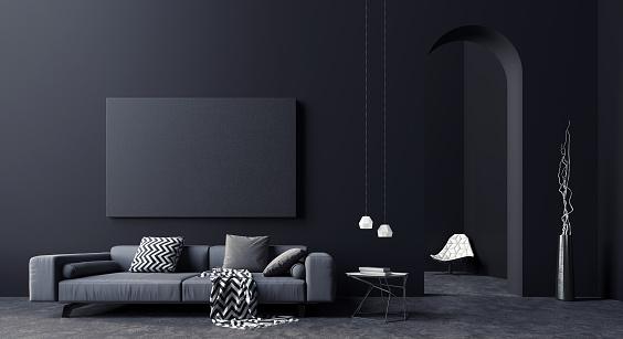 istock Modern Concept interior design of black and grey living room, 3d Render 1147086081