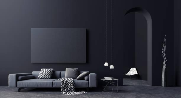黒とグレーのリビングルームのモダンなコンセプトインテリアデザイン、3d レンダリング - ライフスタイル ストックフォトと画像