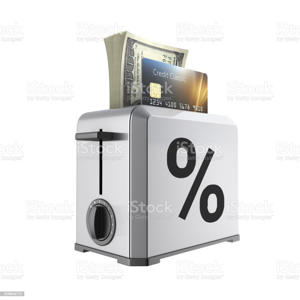 Modern concept of fast loans and payments Credit cards and stack of money american hundred dollar bills in the toaster with drawn percent isolated on white background 3d render without shadow stock photo