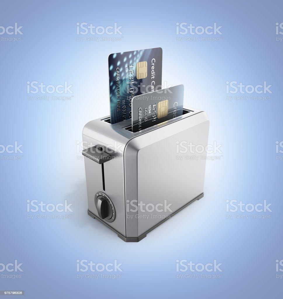 Modernes Konzept der schnelle Kredite und Zahlungen Kreditkarten in den Toaster isoliert auf blauen Gradienten Hintergrund 3d render - Lizenzfrei Aktivitäten und Sport Stock-Foto