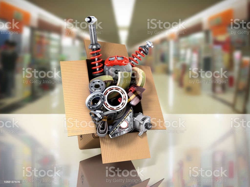 Modern Concept Of Vehicle Maintenance Automotive Supplies Delivery