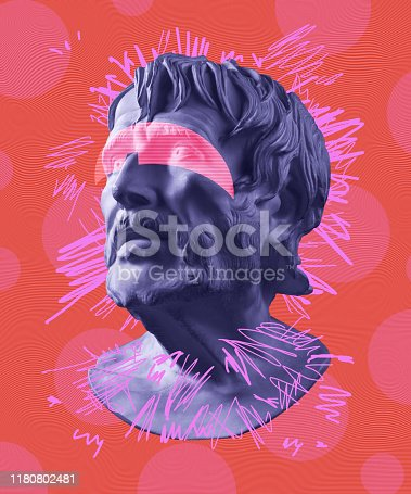 Modern conceptual art colorful poster with ancient statue of bust of Lucius Seneca. Collage of contemporary art.