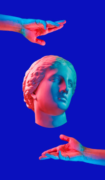 modern conceptual art poster with ancient statue of bust of venus and hands. collage of contemporary art. - vaporwave foto e immagini stock