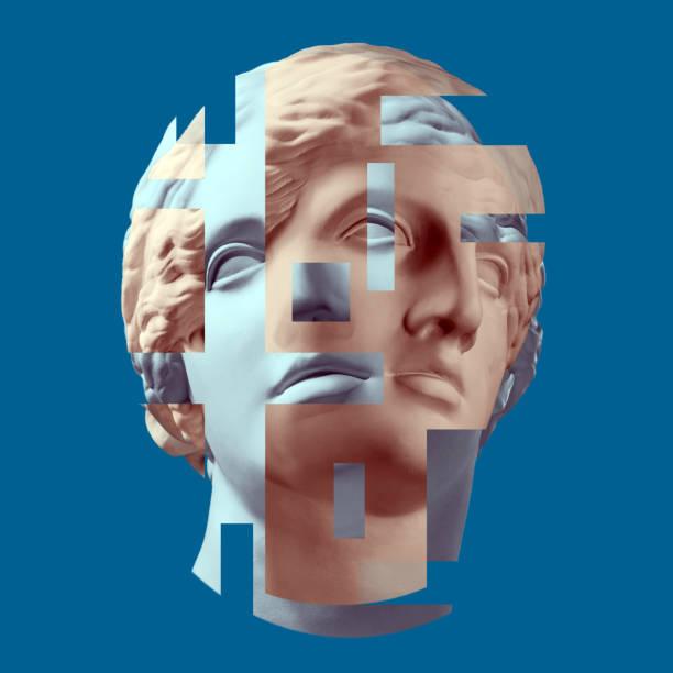 modern conceptual art poster with ancient statue of bust of venus. collage of contemporary art. - surrealistyczny zdjęcia i obrazy z banku zdjęć