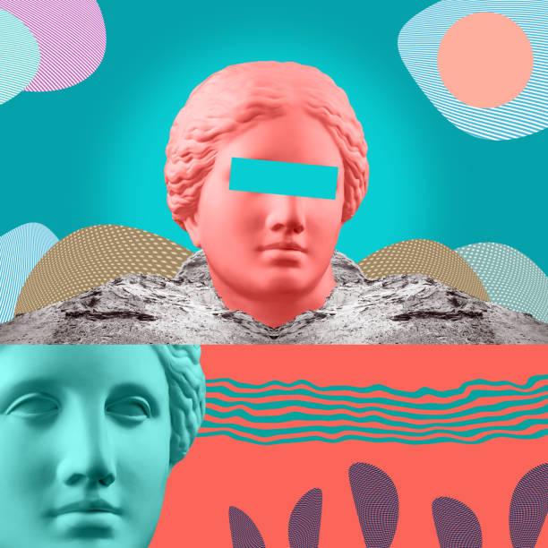 affiche conceptuelle moderne d'art avec la statue antique du buste de vénus. collage d'art contemporain. - venus photos et images de collection