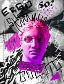 istock Modern conceptual artwork with ancient statue. Contemporary art collage. 1316447596