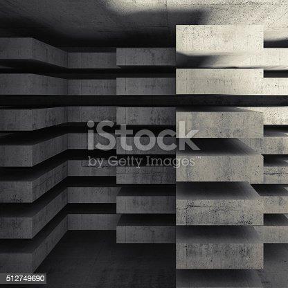 istock Modern concrete architecture background 3d 512749690