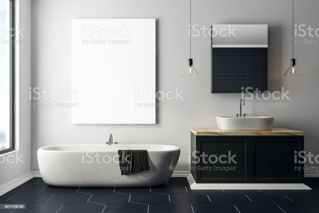 Moderne Beton Badezimmer Mit Leeren Poster Stockfoto und ...
