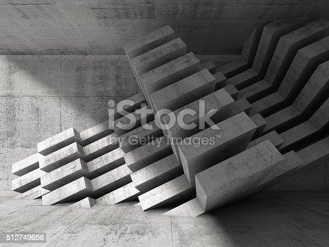 516688156istockphoto Modern concrete installation in empty 3d room 512749656