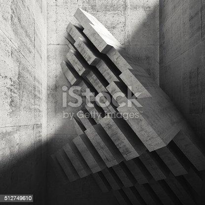 516688156istockphoto Modern concrete installation in empty room, 3d 512749610