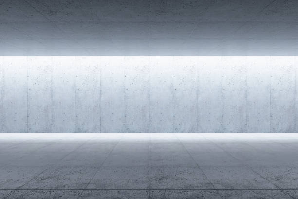 modern concrete space interior, 3d rendering stock photo