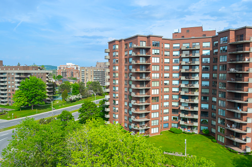 Modern condo buildings with huge windows and balconies in Montreal