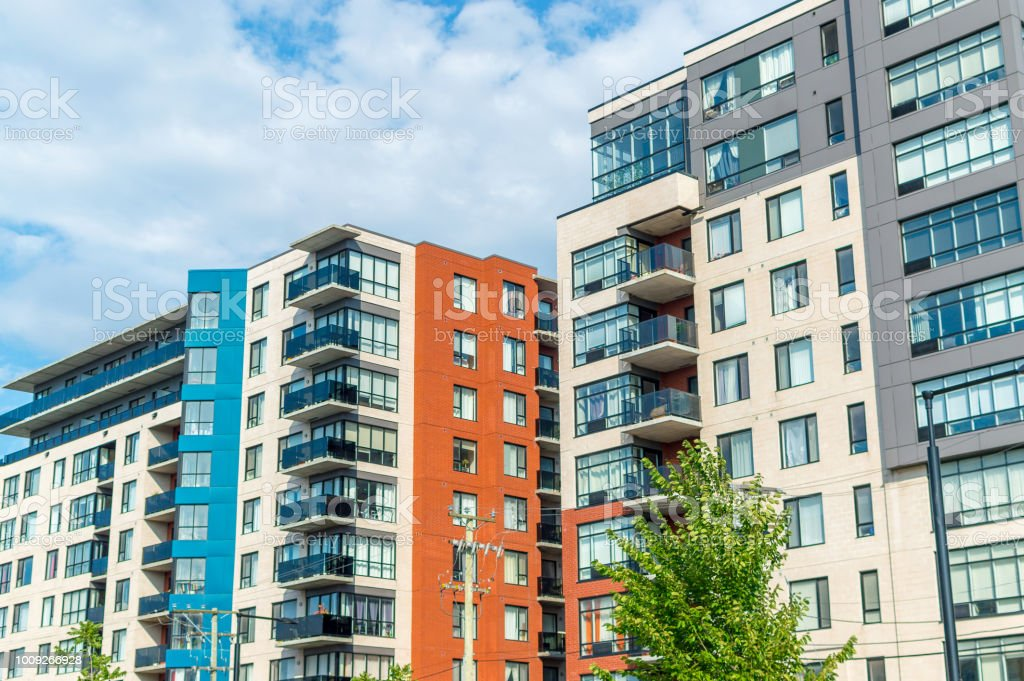 Modern condo buildings with huge windows in Montreal stock photo
