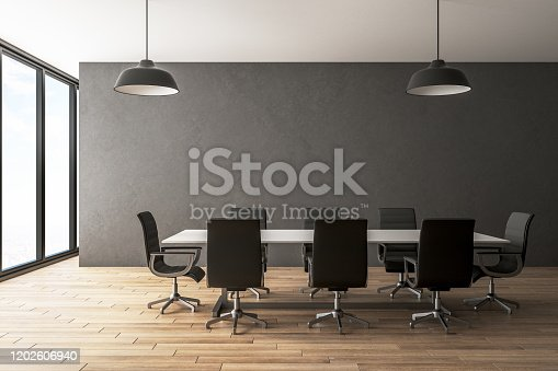 Modern conference room interior with city view, furniture and daylight. Presentation concept. 3D Rendering