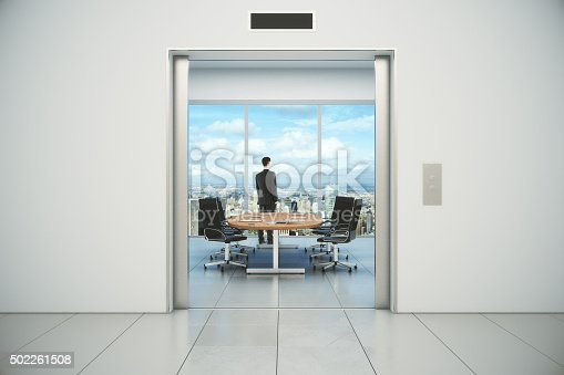 638591126 istock photo Modern conference room with businessman and city view 502261508