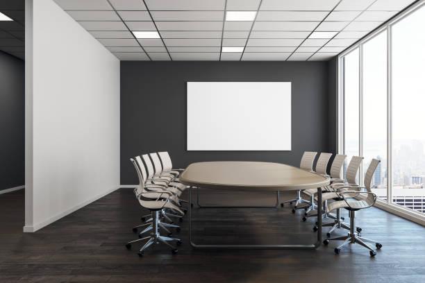 Moderner Konferenzraum mit leeren poster – Foto