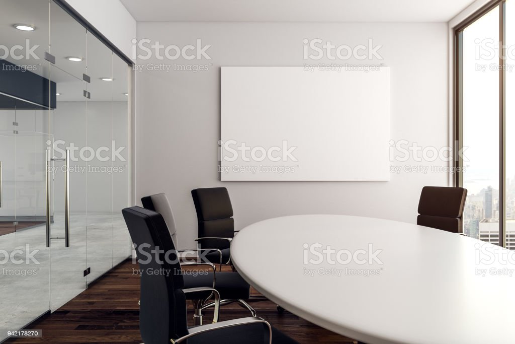 moderner konferenzraum mit poster stock fotografie und mehr bilder von arbeitsst tten istock. Black Bedroom Furniture Sets. Home Design Ideas