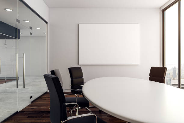 Modern conference room with poster stock photo