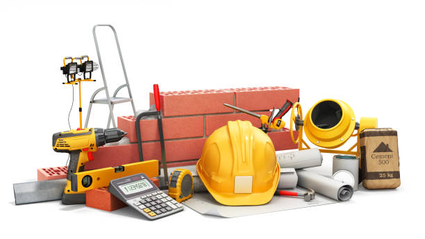 modern construction costing concept hard hat bricks wall and tape measure in the drawings next to the calculator 3d render on white stock photo