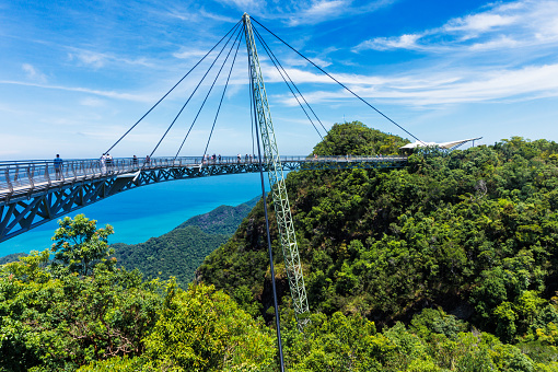 Modern construction - Sky bridge on Langkawi island. Adventure holiday. Tourist attraction of Malaysia