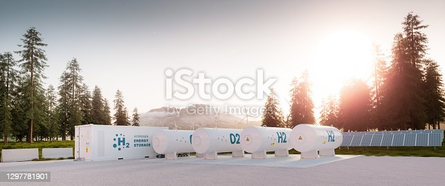 istock Modern container hydrogen energy storage power plant system accompanied with solar panels and wind turbine system situated in nature with Mount St. Helens in background. 3d rendering. 1297781901