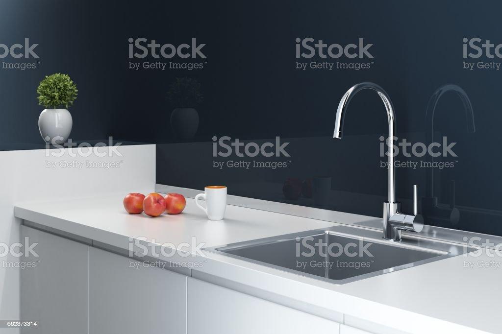 Moderne zeitgemäße und minimalistische Küche – Foto